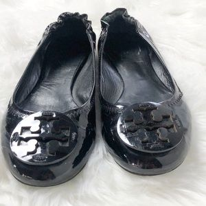 Tory Burch Shoes - GUC Tory Burch black patent leather Reva Flats